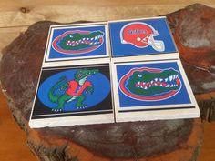 Florida Gators Football Mix Coasters Set of 4, Travertine Tile Gator Mix Coasters, Florida Gator Log