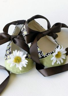 Baby Girls Shoes, Couture Ballet Flats - Brown, White Daisy, Chartreuse Cap Toe, Toddler & Girls sizes too - Baby Souls Coco Series. $30.00, via Etsy.