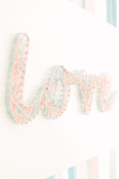 LOVE -- String Art -- Pastel Wedding Inspiration On Style Me Pretty: www. Summer Camp Crafts, Camping Crafts, Pastel Mint, Pretty Pastel, Wedding String Art, Mint Gold Weddings, Diy Arts And Crafts, Diy Wedding, Rustic Wedding
