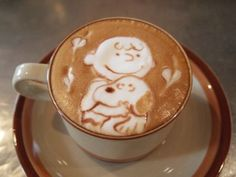 """Peanuts"" froth- espresso art! Love this!"