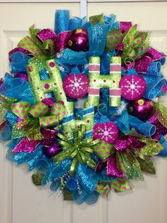 Candy Land Mesh Wreath by WilliamsFloral on Etsy, $114.00
