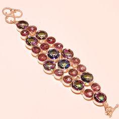 Mystic Topaz & Faceted Brazilian Amethyst Silver Jewelry Ebay Store Bracelet #Handmade #Chain