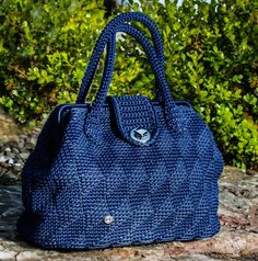 Handbag//blue///Doctor bag crochet bag/lanyard//Made in