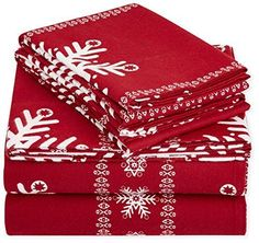 Christmas Printed Lightweight Flannel Sheet Set - Queen, Snowflake Bordeaux #AmazonBasics