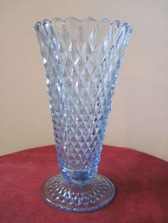 Diamond Cut Blue Glass Vase Depression Glass for a Flower or Anything Else