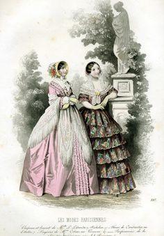 1846. Outdoor dresses, Les Modes Parisiennes.
