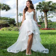 Elegant Short Front Long Back Wedding Dress
