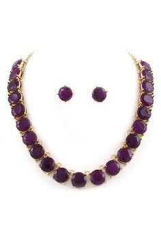 Billie Necklace & Earrings in Amethyst Crystal.