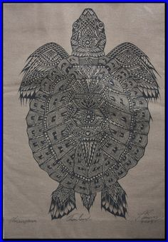 Thai traditional art of Turtle by silkscreen printing on cotton
