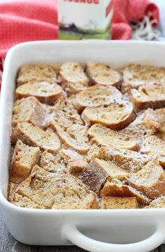 Overnight Eggnog French Toast Casserole- just 15 minutes to prepare and it's ready to bake in the morning!