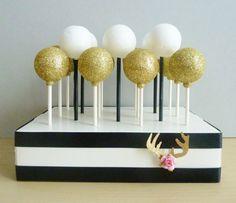 black white stripe wedding cake pop stand modern boho chic floral antler birthday party baby shower bridal shower bachelorete party decor