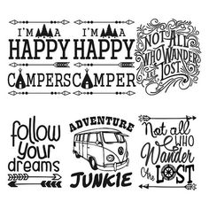 Travel Happy Camper Cuttable Svg Designs by CuttableSVG on Etsy Cricut Vinyl, Svg Files For Cricut, Cricut Craft, Vinyl Crafts, Vinyl Projects, Art Projects, Silhouette Cameo Projects, Silhouette Design, Portrait Silhouette