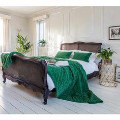 Plushious Velvet Cushion in Emerald Green | Green Velvet French Bedroom Cushion