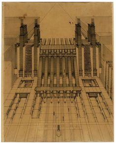 Antonio Sant'Elia realizza una futurista stazione di aereoplani e treni con funicolari e ascensori su tre piani stradali, inchiotro e matita su carta, 1914