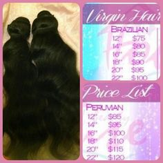 Just got an inbox on FB asking what House of Beautiful Hairs Prices are. Here it is!