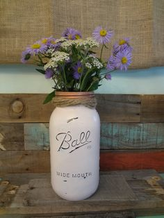 Pale pink chalk painted mason jar vase with copper lid and copper frog insert for flowers. This is a 1/2 gallon size jar. This jar will be custom made for you.  Our jars wi...