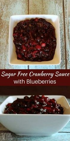 Not a big fan of cranberry sauce? Try a sugar free cranberry sauce with blueberries. It's a tasty low carb alternative for holiday meals. | LowCarbYum.com via @lowcarbyum