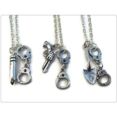 3 Partners In Crime Necklaces, Best Friends Set, Friendship Necklace,... ($5.99) ❤ liked on Polyvore featuring jewelry, birthday jewelry, handcuff pendant, pendant jewelry and handcuff jewelry