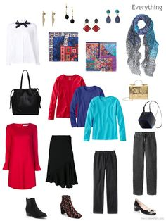 a travel capsule wardrobe in black, white and brights