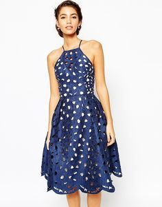 Blue eyelet lace dress by Chi Chi london casual summer winter formal smart