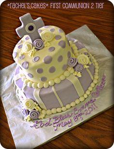First Communion Polka Dot & Stripe Cake.