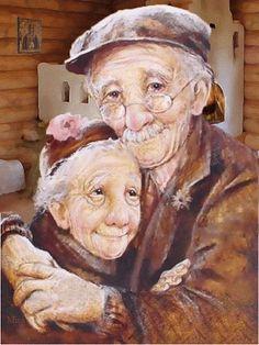 illustration de dianne dengel - Page 3 Cute Old Couples, Romantic Couples, Art Des Gens, Art Amour, Art Mignon, Couple Painting, Old Love, People Art, Illustrations