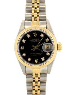 Rolex Datejust Jubilee 2 Tone 18k Gold SS Blue Diamond Dial 69173 26mm Watch #Rolex #LuxuryDressStyles