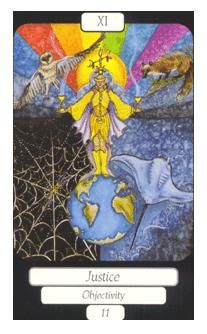 November 7 Tarot Card: Justice (Merry Day deck) When you establish your self at the very core of your life, you stand in the strongest place to bring balance and harmony to all the other facets of your life