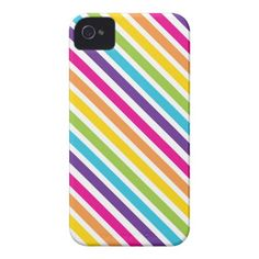 Colorful Rainbow Diagonal Stripes Gifts for Teens iPhone 4 Cases