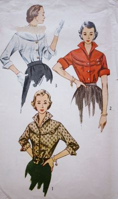 1950s Blouse /Simplicity 3700 /Vintage Sewing Pattern / Button Front Round Yoke /Bust 32 by BluetreeSewingStudio on Etsy