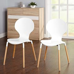 Target Marketing Systems Padova Collection Ultra Modern Dining Room Kitchen Armless Chairs With Natural Finish Splayed Legs, Set of 2, White