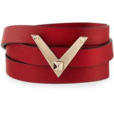 Valentino Viva V Leather Wrap Bracelet (1,565 SAR) ❤ liked on Polyvore featuring jewelry, bracelets, pulseiras, valentino, chestnut, valentino jewelry, metallic jewelry, leather jewelry, leather bangles and wrap bracelet