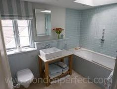 Lovely New England Style Bathroom In London Pale Blue Tiles