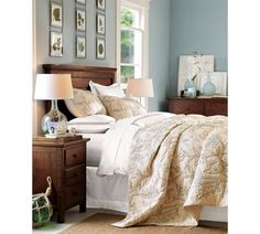 Pottery Barn cream bedding, Benjamin Moore Silver Spring walls.  I like the wall color.