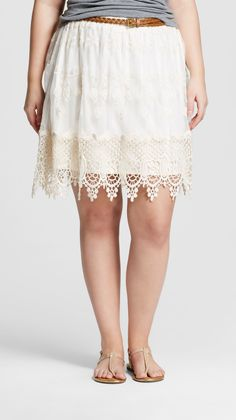 Plus Size Embroidered Mesh Skirt