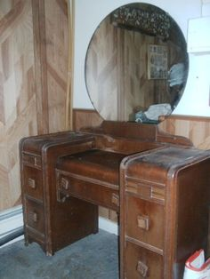 Vintage Art Deco Style Mirrored Dressing Table Original 5 Drawers All Intact