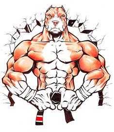 Muay Thai, Cartoon Rooster, Strongest Animal, Martial Arts Styles, Ju Jitsu, Art Costume, Bear Art, Pitbulls, Dogs Pitbull