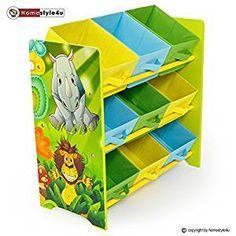 🐘 Kinderregal Spielzeugbox Spielzeugkiste mit Dschungel Motiv | Kindermöbel Regal mit Tieren | Kinderzimmereinrichtung | Aufbewahrung | Dschungelzimmer |