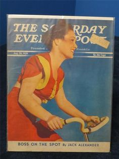 1939 vintage bicycle cover art for Saturday Evening Post Magazine August 26. Illustration of Lady on Bike Ride. Illustrator: Amos Sewell