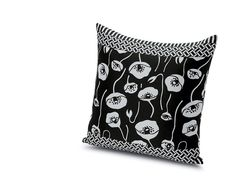 Rabinal cushion 60x60 MissoniHome collection 2015. Outdoor fabric black and white.