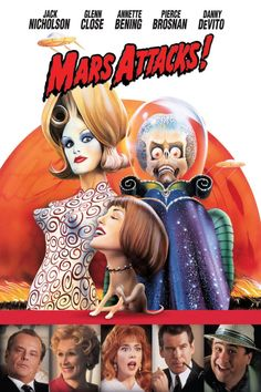 Directed by Tim Burton. With Jack Nicholson, Pierce Brosnan, Sarah Jessica Parker, Annette Bening. Earth is invaded by Martians with unbeatable weapons and a cruel sense of humor. Mars Attacks, Glenn Close, Pierce Brosnan, Jack Nicholson, Films Récents, Sci Fi Films, Film Science Fiction, Fiction Movies, Annette Bening
