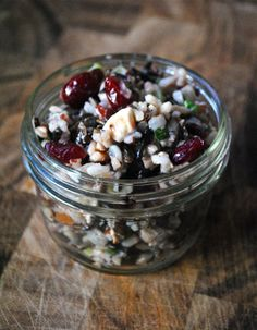 Wild Rice Salad - pecans, cranberries, cashews, green onions ... be how can I go wrong. Oh, just have to make sure that the cranberries won't kill me.