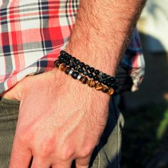 Men's Bracelet  Tiger Eye  Black Oynx by winkandbauble on Etsy, $38.00