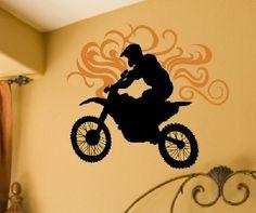 Dirt Bike Wall Decal at Luxury Baby Nursery Name Wall Decals, Wall Stickers, Bike Wall, Wall Transfers, Wall Murals, Wall Art, Monogram Wall, Dream Wall, Hand Painting Art