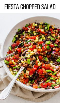 This fresh, delicious, and super healthy Fiesta Chopped Salad works as a light lunch, side dish, appetizer, or snack anytime. Make this on the weekend and eat on it throughout the week on its own or scoop it with tortilla chips or crackers. #salad #choppedsalad #cowboycaviar #healthy