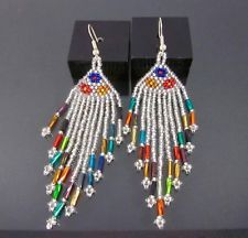 Huichol Beaded Earrings Mexican Handmade Folk Art Boho Ethnic Peyote Jewelry