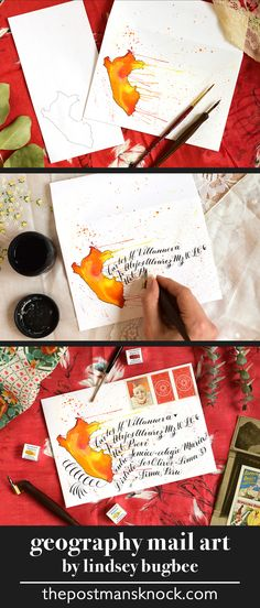 Use watercolors to make gorgeous mail art that is specific to the recipient's location!
