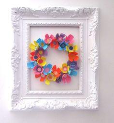 recycling paper: egg carton spring wreath tutorial - crafts ideas - crafts for kids Egg Carton Art, Egg Carton Crafts, Egg Cartons, Easter Crafts For Kids, Crafts To Do, Paper Crafts, Easter Art, Frame Crafts, Spring Crafts