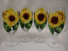sunflower painted glasses | Hand painted wine glasses in sunflower design, wine, water, tea glass ...