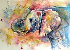 Buy Playing elephant (70 x 50 cm), Watercolour by Kovács Anna Brigitta on Artfinder. Discover thousands of other original paintings, prints, sculptures and photography from independent artists.